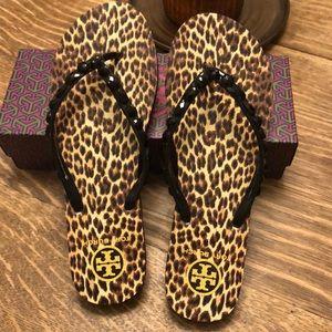 Tory Burch Flip Flop Sandals Leopard Size 11